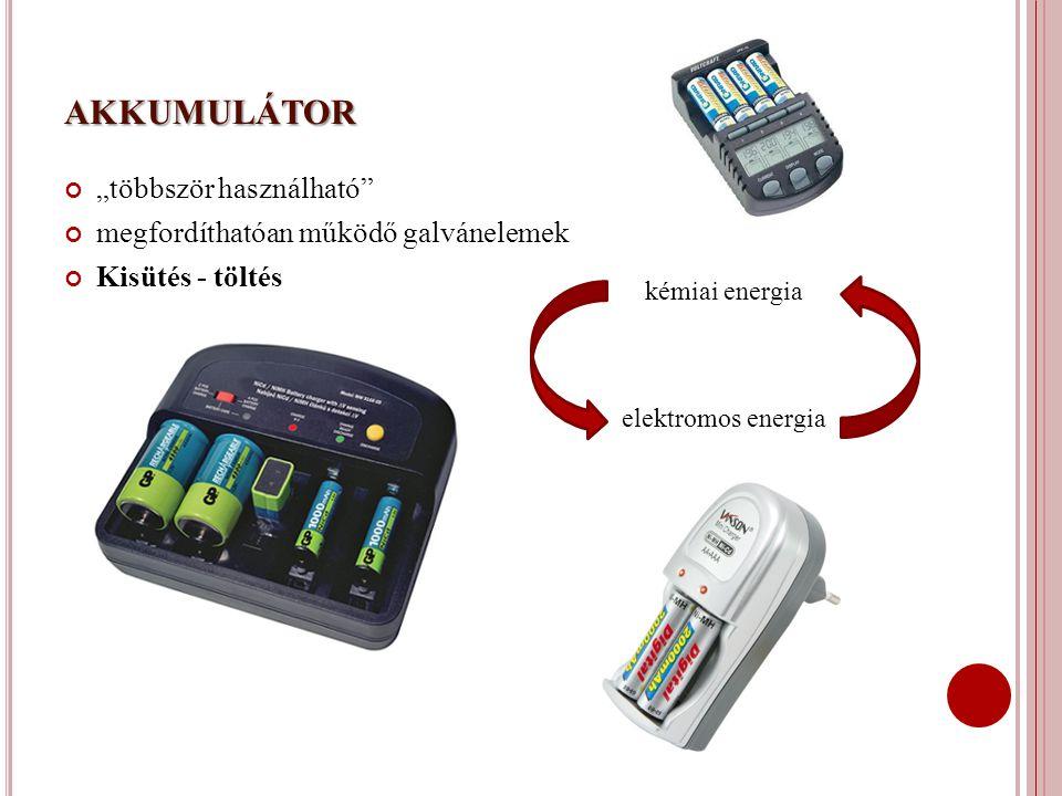 """AKKUMULÁTOR """"többször használható"""" megfordíthatóan működő galvánelemek Kisütés - töltés kémiai energia elektromos energia"""