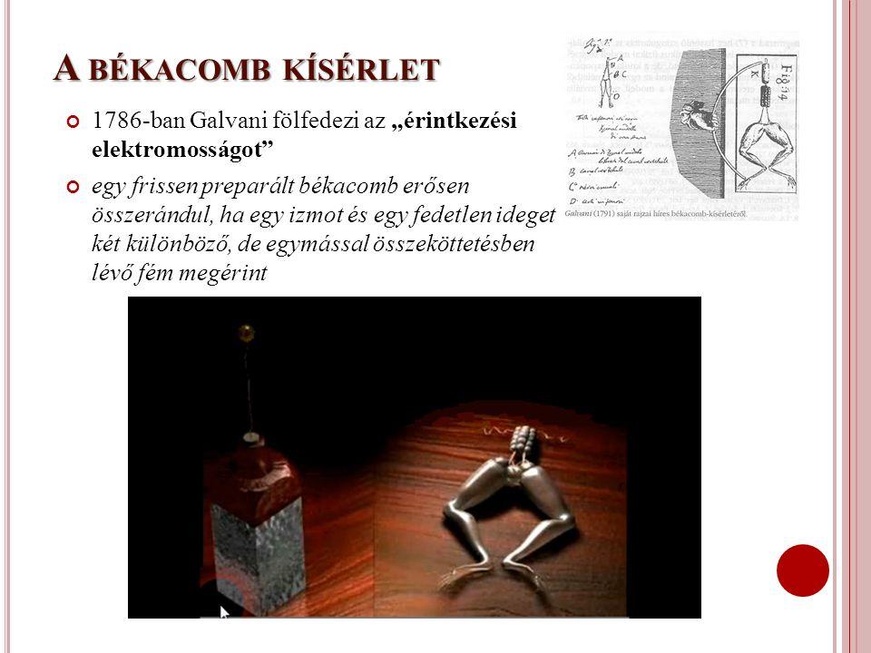 """A BÉKACOMB KÍSÉRLET 1786-ban Galvani fölfedezi az """"érintkezési elektromosságot"""" egy frissen preparált békacomb erősen összerándul, ha egy izmot és egy"""