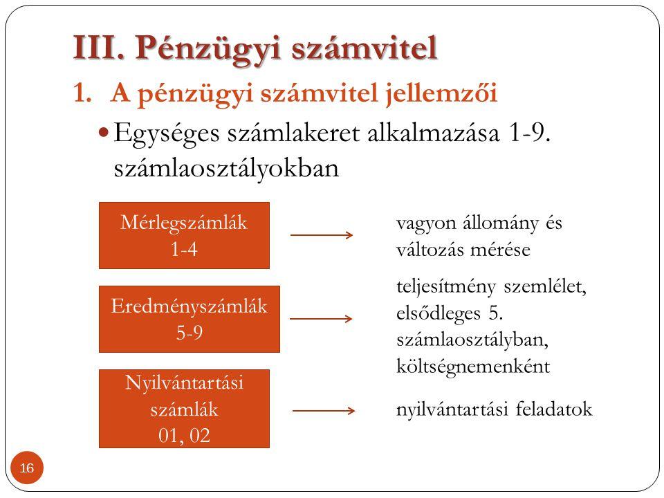 III.Pénzügyi számvitel 1.A pénzügyi számvitel jellemzői  Egységes számlakeret alkalmazása 1-9. számlaosztályokban 16 Mérlegszámlák 1-4 vagyon állomán