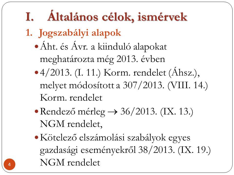 I.Általános célok, ismérvek 1.Jogszabályi alapok  Áht. és Ávr. a kiinduló alapokat meghatározta még 2013. évben  4/2013. (I. 11.) Korm. rendelet (Áh