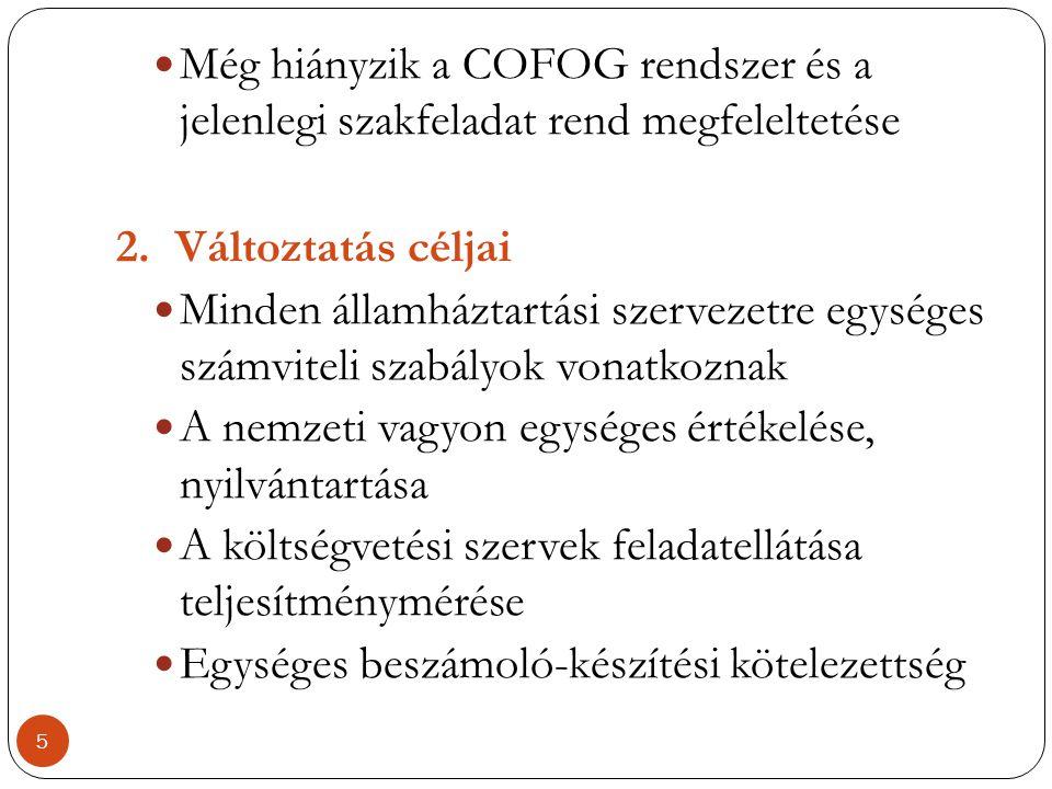  Még hiányzik a COFOG rendszer és a jelenlegi szakfeladat rend megfeleltetése 2.Változtatás céljai  Minden államháztartási szervezetre egységes szám