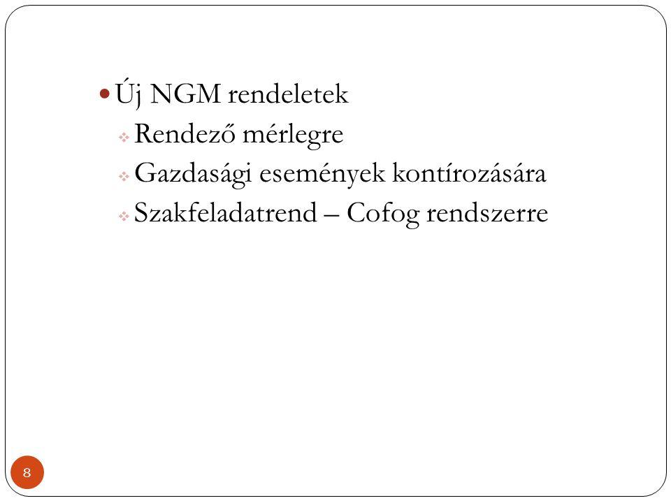  Új NGM rendeletek  Rendező mérlegre  Gazdasági események kontírozására  Szakfeladatrend – Cofog rendszerre 8