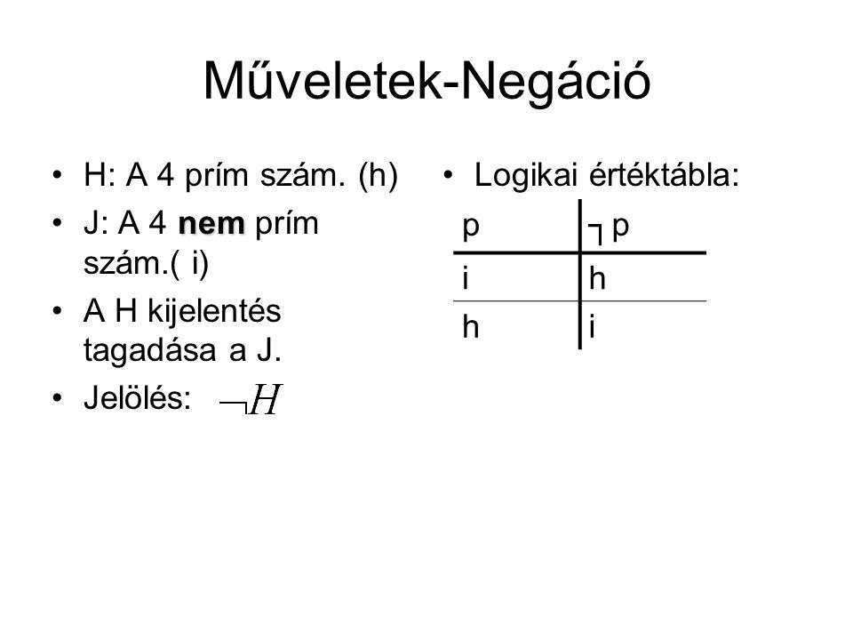 Műveletek-Negáció •H: A 4 prím szám. (h) nem •J: A 4 nem prím szám.( i) •A H kijelentés tagadása a J. •Jelölés: •Logikai értéktábla: p┐p ih hi