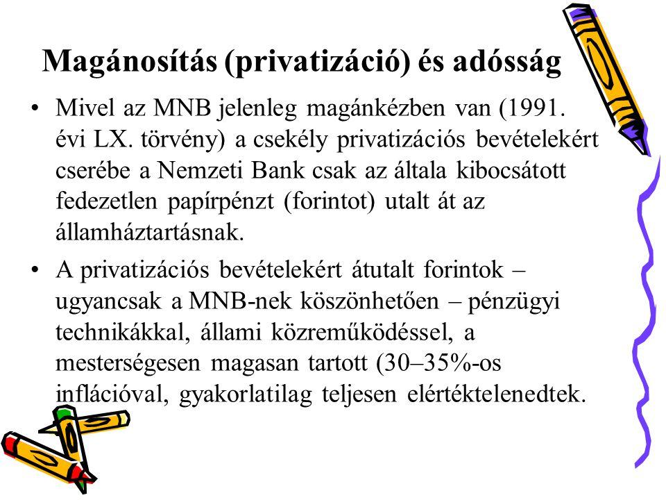 Magánosítás (privatizáció) és adósság •Mivel az MNB jelenleg magánkézben van (1991.