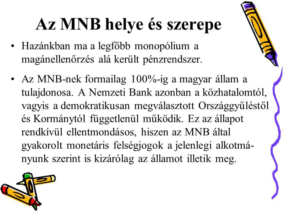 Az MNB helye és szerepe •Hazánkban ma a legfőbb monopólium a magánellenőrzés alá került pénzrendszer.