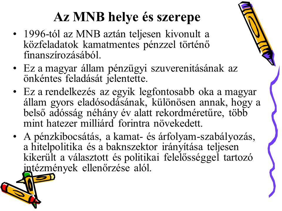 Az MNB helye és szerepe •1996-tól az MNB aztán teljesen kivonult a közfeladatok kamatmentes pénzzel történő finanszírozásából.