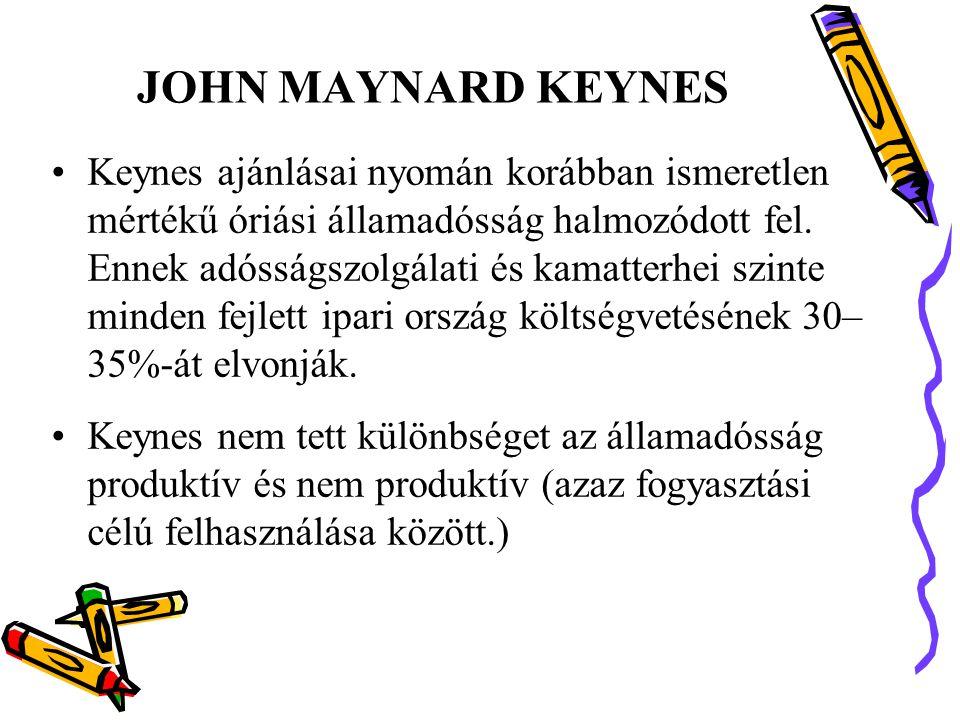 JOHN MAYNARD KEYNES •Keynes ajánlásai nyomán korábban ismeretlen mértékű óriási államadósság halmozódott fel.