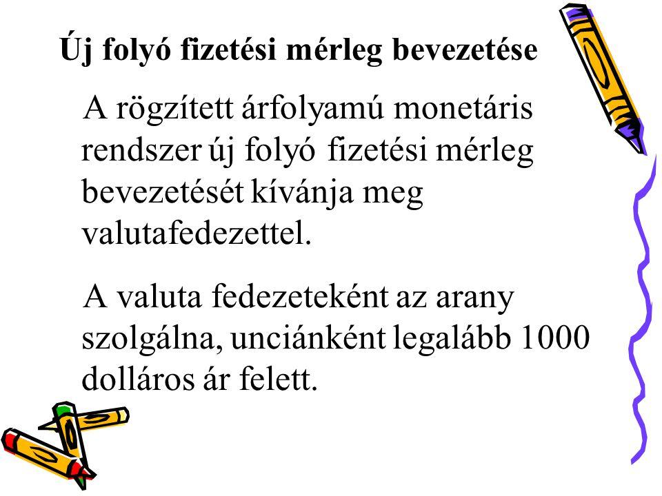 Új folyó fizetési mérleg bevezetése A rögzített árfolyamú monetáris rendszer új folyó fizetési mérleg bevezetését kívánja meg valutafedezettel.