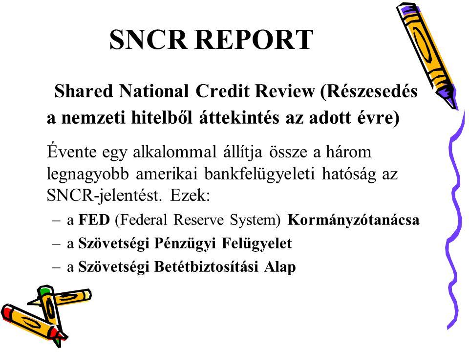 SNCR REPORT Shared National Credit Review (Részesedés a nemzeti hitelből áttekintés az adott évre) Évente egy alkalommal állítja össze a három legnagyobb amerikai bankfelügyeleti hatóság az SNCR-jelentést.