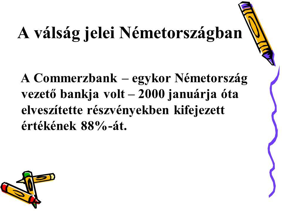 A válság jelei Németországban A Commerzbank – egykor Németország vezető bankja volt – 2000 januárja óta elveszítette részvényekben kifejezett értékének 88%-át.