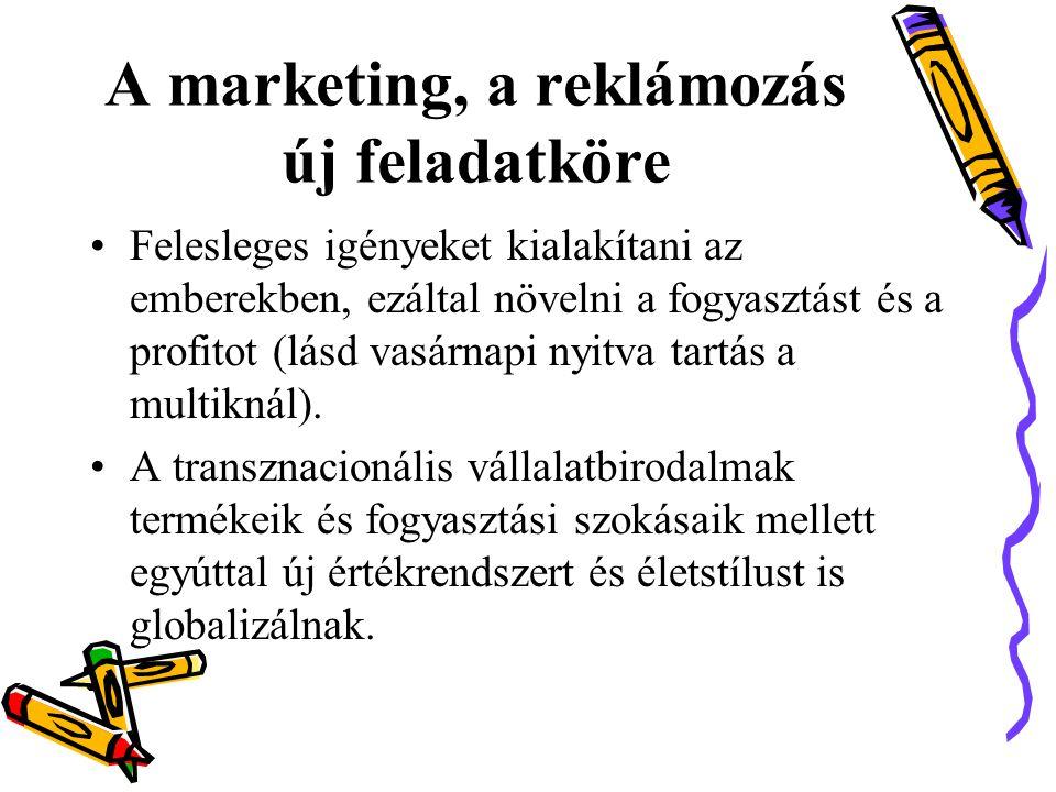 A marketing, a reklámozás új feladatköre •Felesleges igényeket kialakítani az emberekben, ezáltal növelni a fogyasztást és a profitot (lásd vasárnapi nyitva tartás a multiknál).