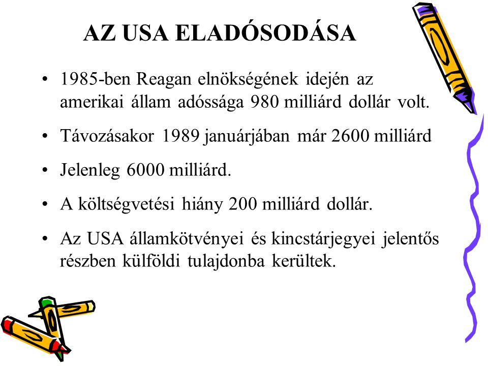 AZ USA ELADÓSODÁSA •1985-ben Reagan elnökségének idején az amerikai állam adóssága 980 milliárd dollár volt.
