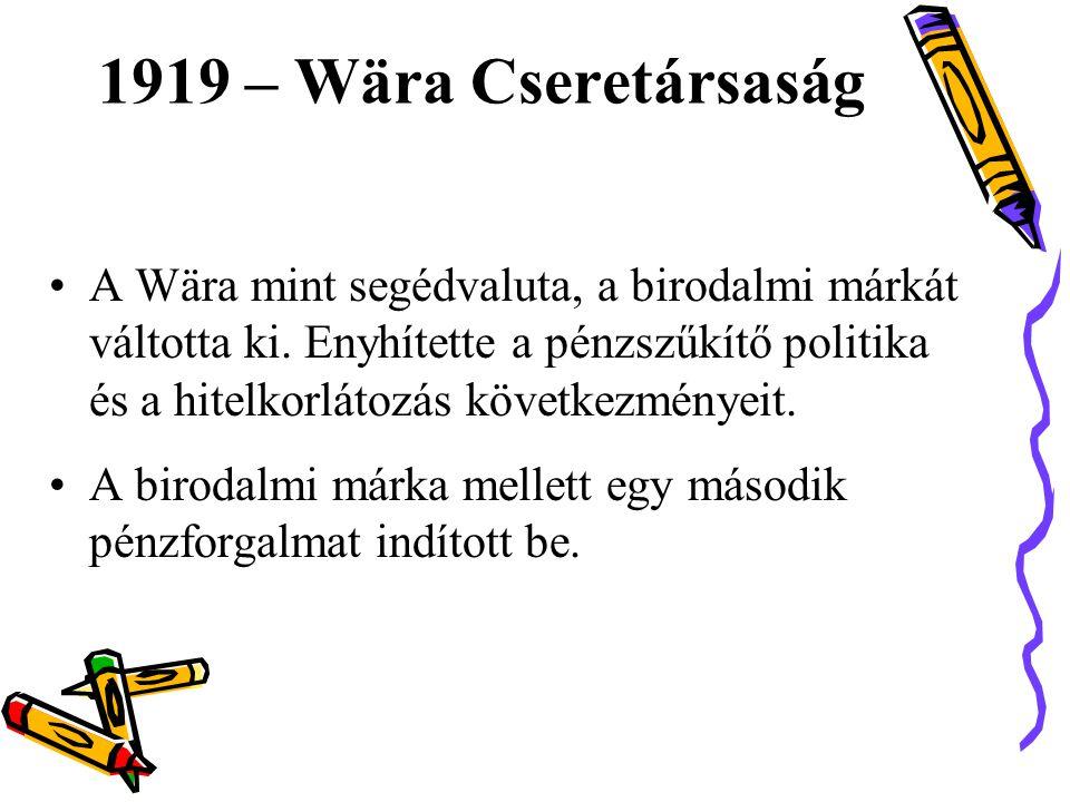 •A Wära mint segédvaluta, a birodalmi márkát váltotta ki.