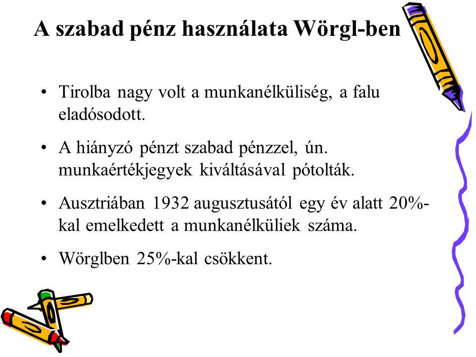 A szabad pénz használata Wörgl-ben •Tirolba nagy volt a munkanélküliség, a falu eladósodott.