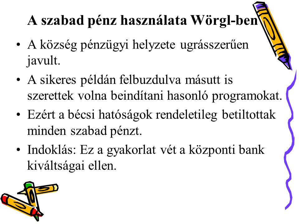 A szabad pénz használata Wörgl-ben •A község pénzügyi helyzete ugrásszerűen javult.