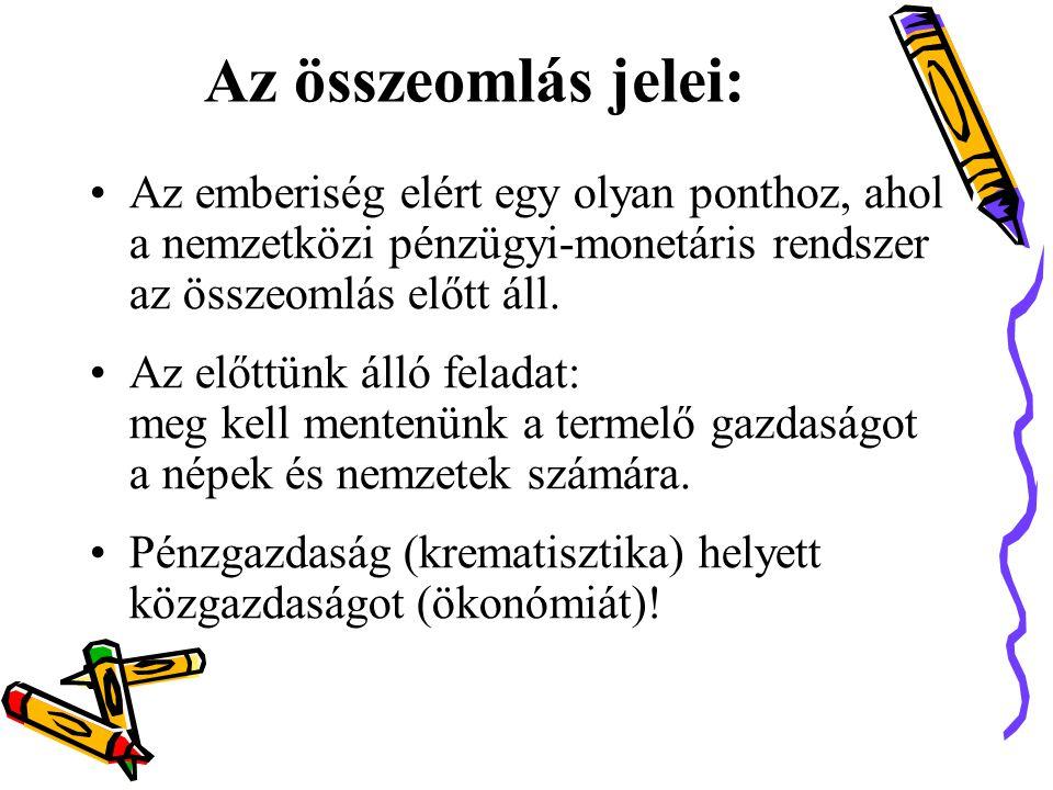 A magas adóteher okai: •A pénzvagyon-tulajdonos csoport kikényszeríttette, hogy a magyar állam az adóbevételének fedezetével többé ne bocsáthasson ki pénzt.
