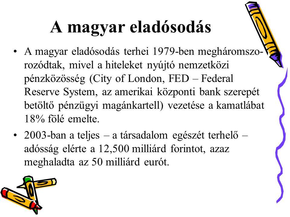 A magyar eladósodás •A magyar eladósodás terhei 1979-ben megháromszo- rozódtak, mivel a hiteleket nyújtó nemzetközi pénzközösség (City of London, FED – Federal Reserve System, az amerikai központi bank szerepét betöltő pénzügyi magánkartell) vezetése a kamatlábat 18% fölé emelte.