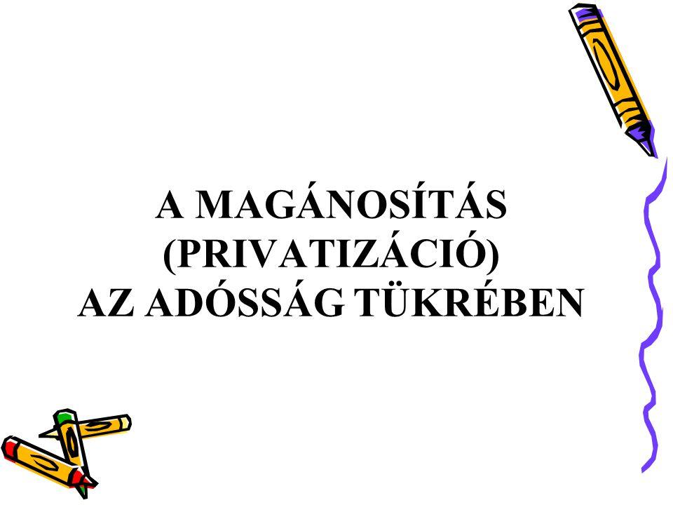A MAGÁNOSÍTÁS (PRIVATIZÁCIÓ) AZ ADÓSSÁG TÜKRÉBEN
