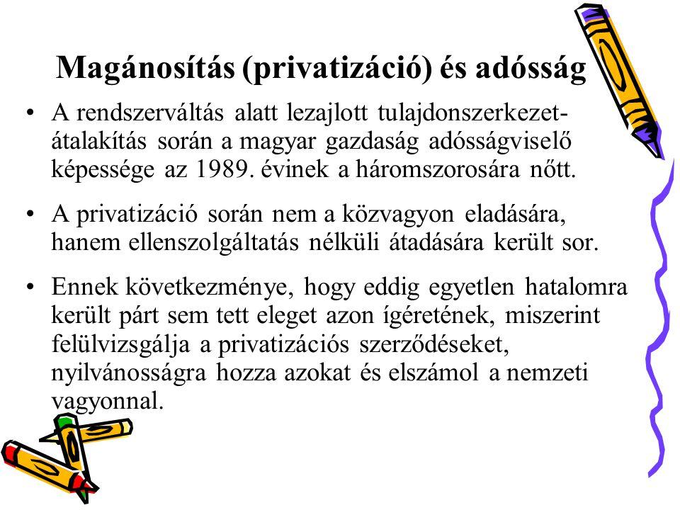 Magánosítás (privatizáció) és adósság •A rendszerváltás alatt lezajlott tulajdonszerkezet- átalakítás során a magyar gazdaság adósságviselő képessége az 1989.