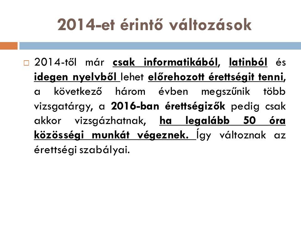 2014-et érintő változások  2014-től már csak informatikából, latinból és idegen nyelvből lehet előrehozott érettségit tenni, a következő három évben