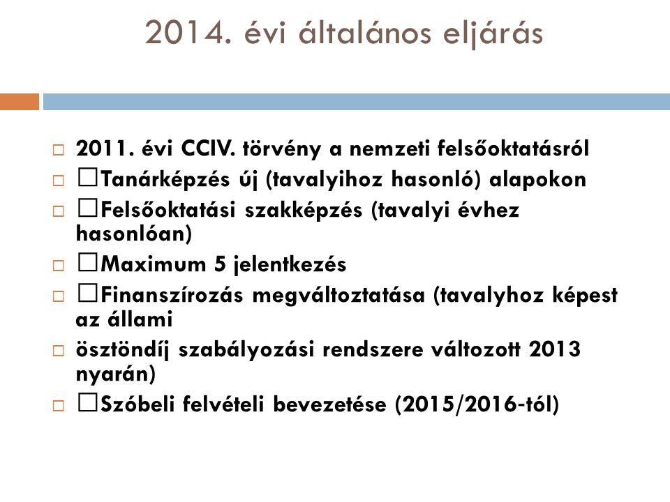 2014. évi általános eljárás  2011. évi CCIV. törvény a nemzeti felsőoktatásról   Tanárképzés új (tavalyihoz hasonló) alapokon   Felsőoktatási sza