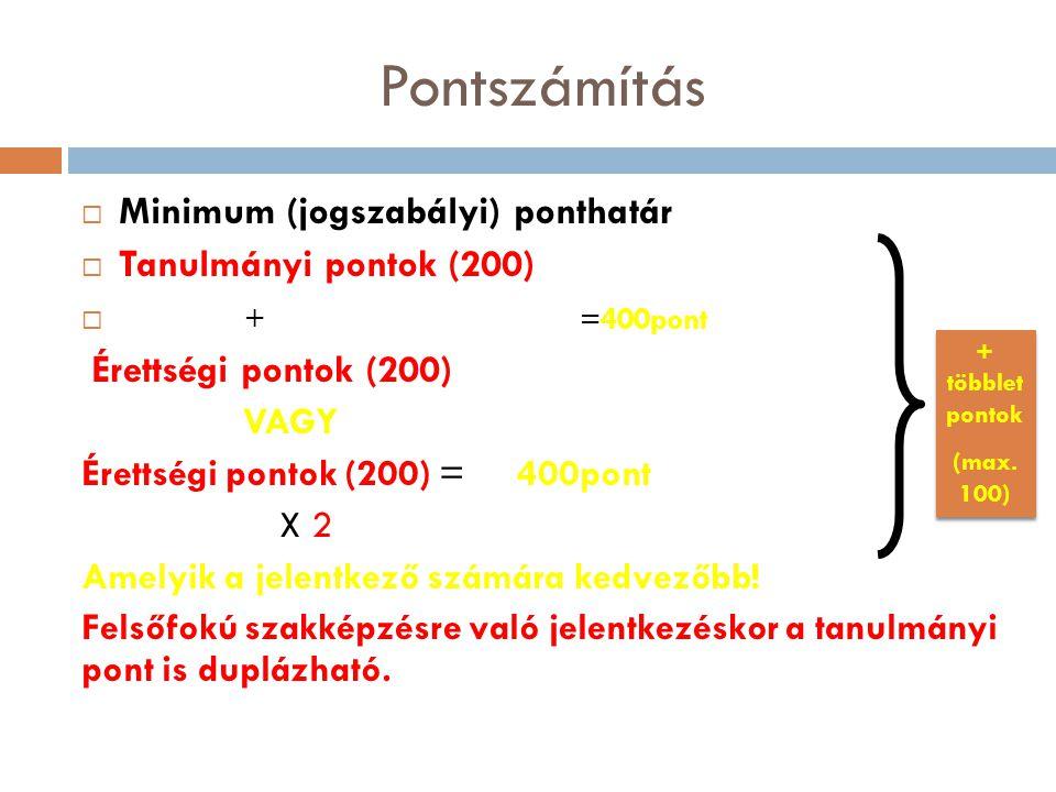 Pontszámítás  Minimum (jogszabályi) ponthatár  Tanulmányi pontok (200)  + =400pont Érettségi pontok (200) VAGY Érettségi pontok (200) = 400pont X 2