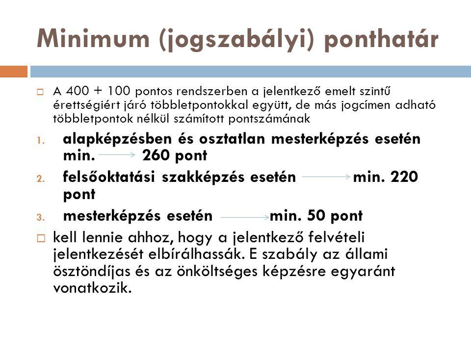 Minimum (jogszabályi) ponthatár  A 400 + 100 pontos rendszerben a jelentkező emelt szintű érettségiért járó többletpontokkal együtt, de más jogcímen