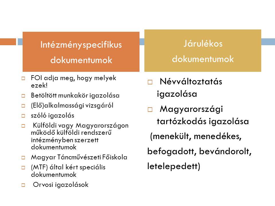  FOI adja meg, hogy melyek ezek!  Betöltött munkakör igazolása  (Elő)alkalmassági vizsgáról  szóló igazolás  Külföldi vagy Magyarországon működő