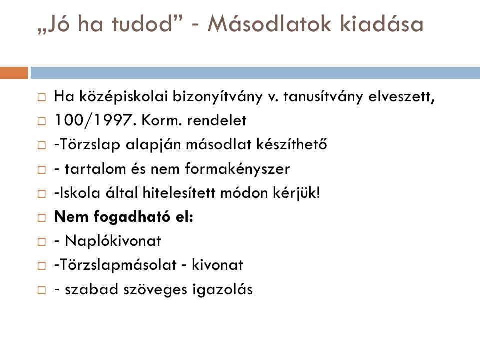 """""""Jó ha tudod"""" ‐ Másodlatok kiadása  Ha középiskolai bizonyítvány v. tanusítvány elveszett,  100/1997. Korm. rendelet  ‐ Törzslap alapján másodlat k"""