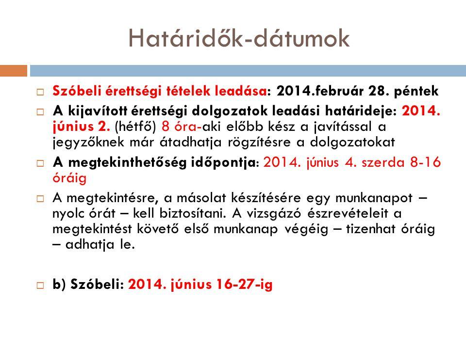 Határidők-dátumok  Szóbeli érettségi tételek leadása: 2014.február 28. péntek  A kijavított érettségi dolgozatok leadási határideje: 2014. június 2.