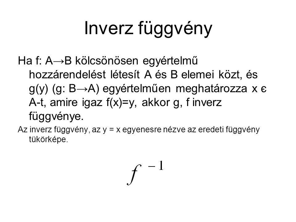 Inverz függvény Ha f: A→B kölcsönösen egyértelmű hozzárendelést létesít A és B elemei közt, és g(y) (g: B→A) egyértelműen meghatározza x є A-t, amire igaz f(x)=y, akkor g, f inverz függvénye.