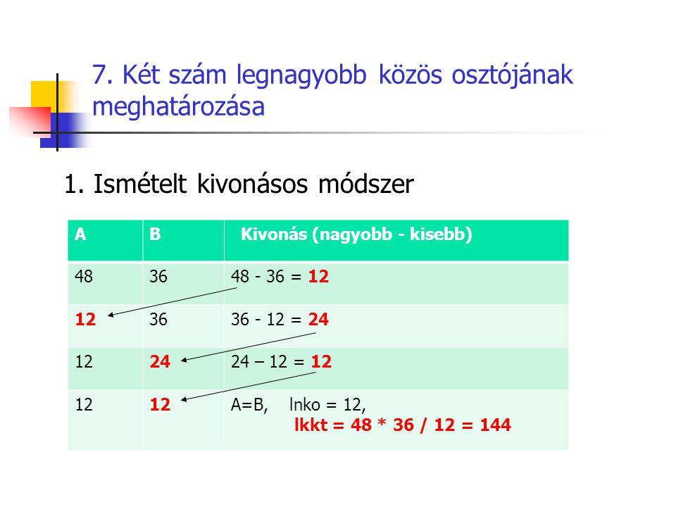 7. Két szám legnagyobb közös osztójának meghatározása 1. Ismételt kivonásos módszer AB Kivonás (nagyobb - kisebb) 483648 - 36 = 12 123636 - 12 = 24 12