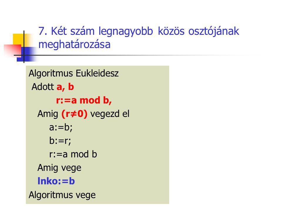 7. Két szám legnagyobb közös osztójának meghatározása Algoritmus Eukleidesz Adott a, b r:=a mod b, Amig (r≠0) vegezd el a:=b; b:=r; r:=a mod b Amig ve