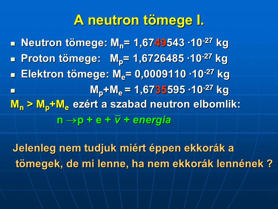 A neutron tömege I.  Neutron tömege: M n = 1,6749543 ·10 -27 kg  Proton tömege: M p = 1,6726485 ·10 -27 kg  Elektron tömege: M e = 0,0009110 ·10 -2