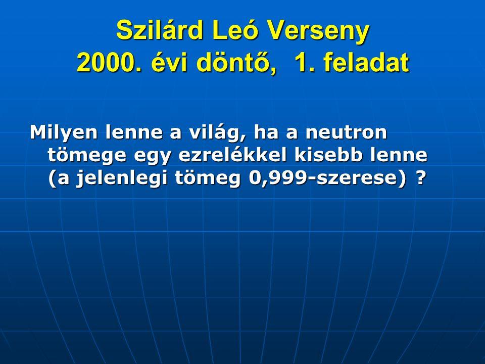 Szilárd Leó Verseny 2000. évi döntő, 1. feladat Milyen lenne a világ, ha a neutron tömege egy ezrelékkel kisebb lenne (a jelenlegi tömeg 0,999-szerese