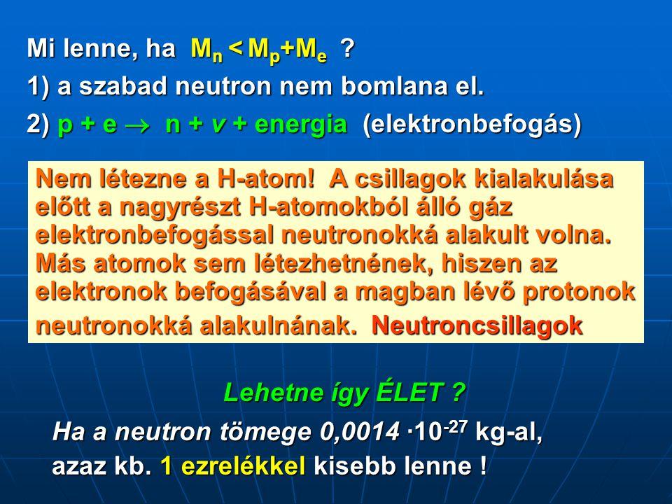 Mi lenne, ha M n < M p +M e ? 1) a szabad neutron nem bomlana el. 2) p + e  n + v + energia (elektronbefogás) Nem létezne a H-atom! A csillagok kiala