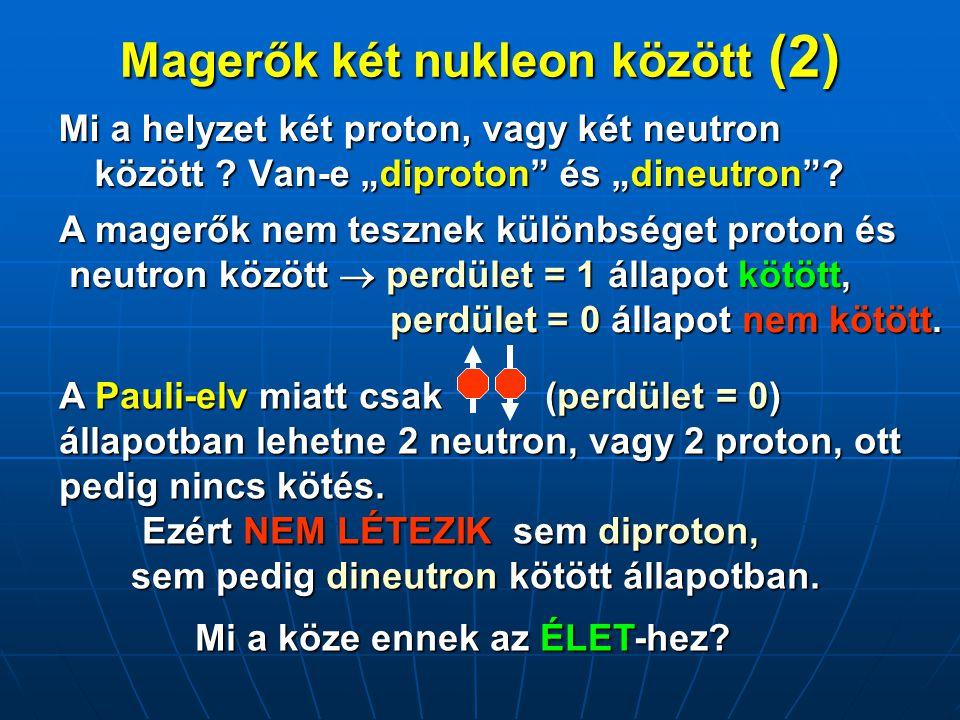 Összefoglalás Az ÉLET nukleáris feltételei (néhány példa): •A neutron tömege pontosan akkora kell legyen, mint amekkora (egy ezrelék pontosan) •A magerők spinfüggése pontosan olyan kell legyen, mint amilyen (egy százalék pontosan) •A magerők erőssége pontosan akkora kell legyen, mint amekkora (egy ezrelék pontosan) Hát nem csodálatos ez a világ ?