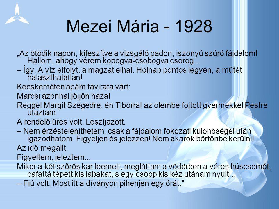 """Mezei Mária - 1928 """"Az ötödik napon, kifeszítve a vizsgáló padon, iszonyú szúró fájdalom! Hallom, ahogy vérem kopogva-csobogva csorog... – Így. A víz"""
