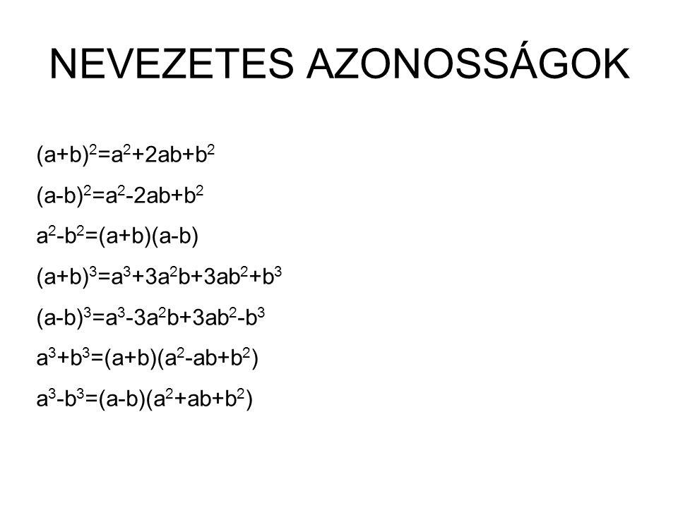 NEVEZETES AZONOSSÁGOK (a+b) 2 =a 2 +2ab+b 2 (a-b) 2 =a 2 -2ab+b 2 a 2 -b 2 =(a+b)(a-b) (a+b) 3 =a 3 +3a 2 b+3ab 2 +b 3 (a-b) 3 =a 3 -3a 2 b+3ab 2 -b 3 a 3 +b 3 =(a+b)(a 2 -ab+b 2 ) a 3 -b 3 =(a-b)(a 2 +ab+b 2 )
