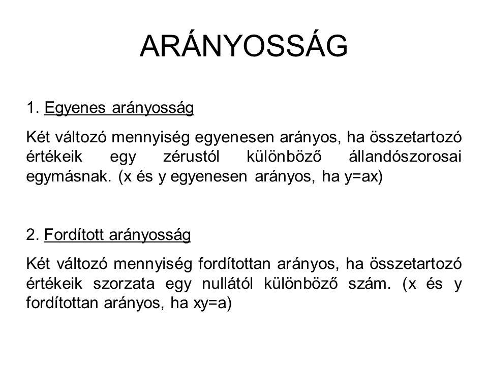 ARÁNYOSSÁG 1.