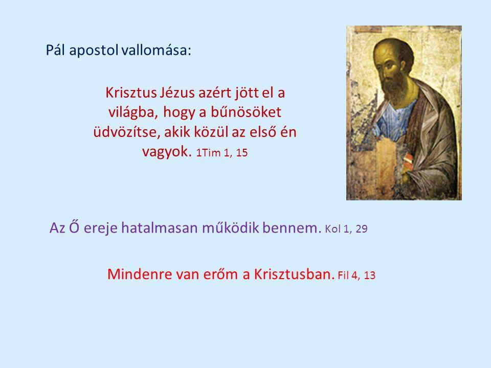 Pál apostol vallomása: Krisztus Jézus azért jött el a világba, hogy a bűnösöket üdvözítse, akik közül az első én vagyok.
