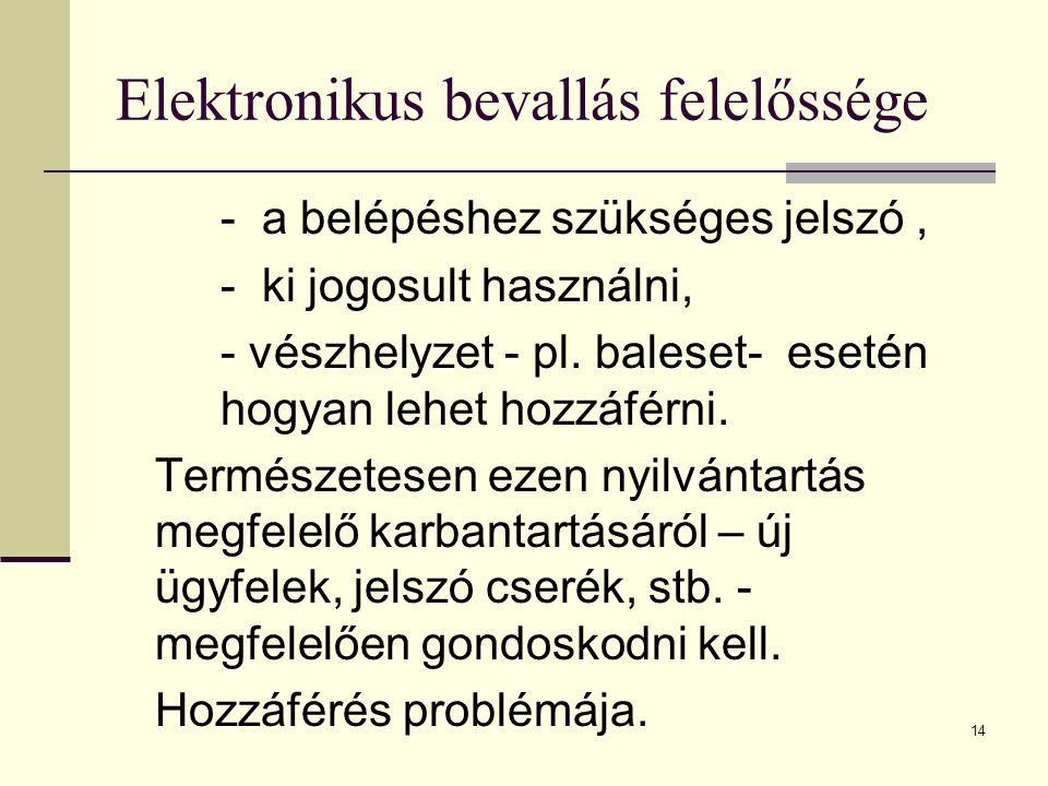 14 Elektronikus bevallás felelőssége - a belépéshez szükséges jelszó, - ki jogosult használni, - vészhelyzet - pl. baleset- esetén hogyan lehet hozzáf