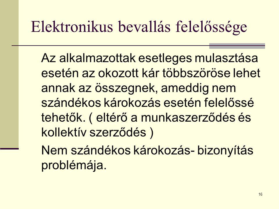 16 Elektronikus bevallás felelőssége Az alkalmazottak esetleges mulasztása esetén az okozott kár többszöröse lehet annak az összegnek, ameddig nem szá