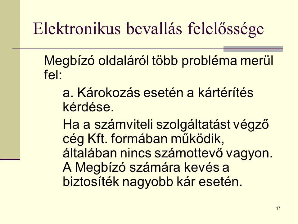 17 Elektronikus bevallás felelőssége Megbízó oldaláról több probléma merül fel: a. Károkozás esetén a kártérítés kérdése. Ha a számviteli szolgáltatás