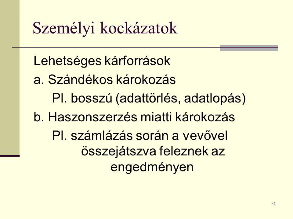 24 Személyi kockázatok Lehetséges kárforrások a. Szándékos károkozás Pl. bosszú (adattörlés, adatlopás) b. Haszonszerzés miatti károkozás Pl. számlázá