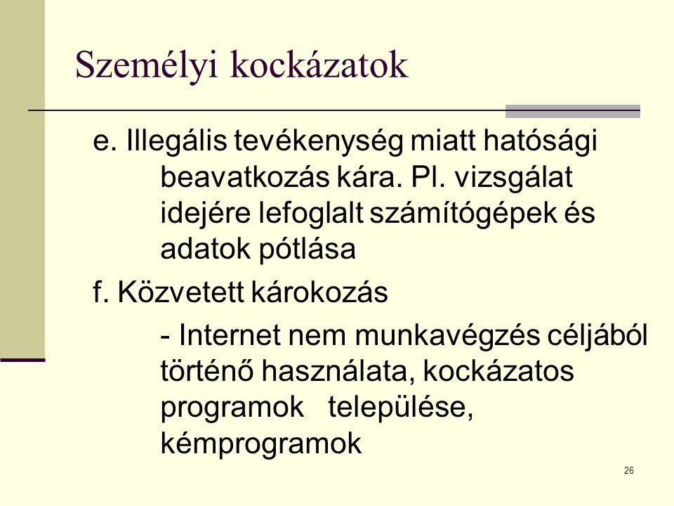 26 Személyi kockázatok e. Illegális tevékenység miatt hatósági beavatkozás kára. Pl. vizsgálat idejére lefoglalt számítógépek és adatok pótlása f. Köz