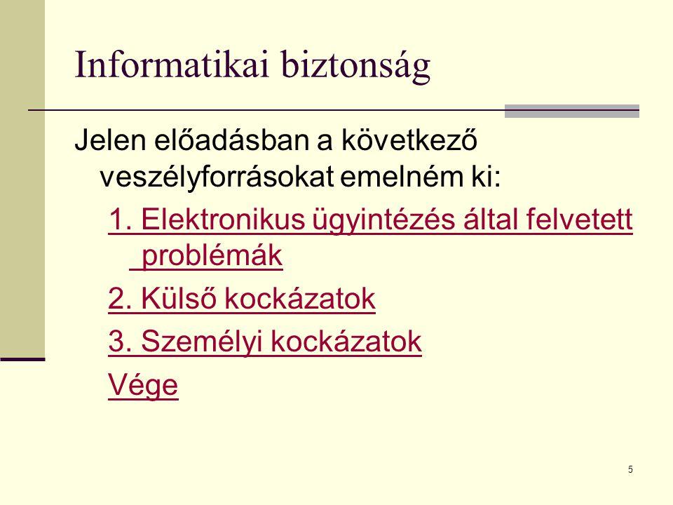5 Informatikai biztonság Jelen előadásban a következő veszélyforrásokat emelném ki: 1. Elektronikus ügyintézés által felvetett problémák 2. Külső kock