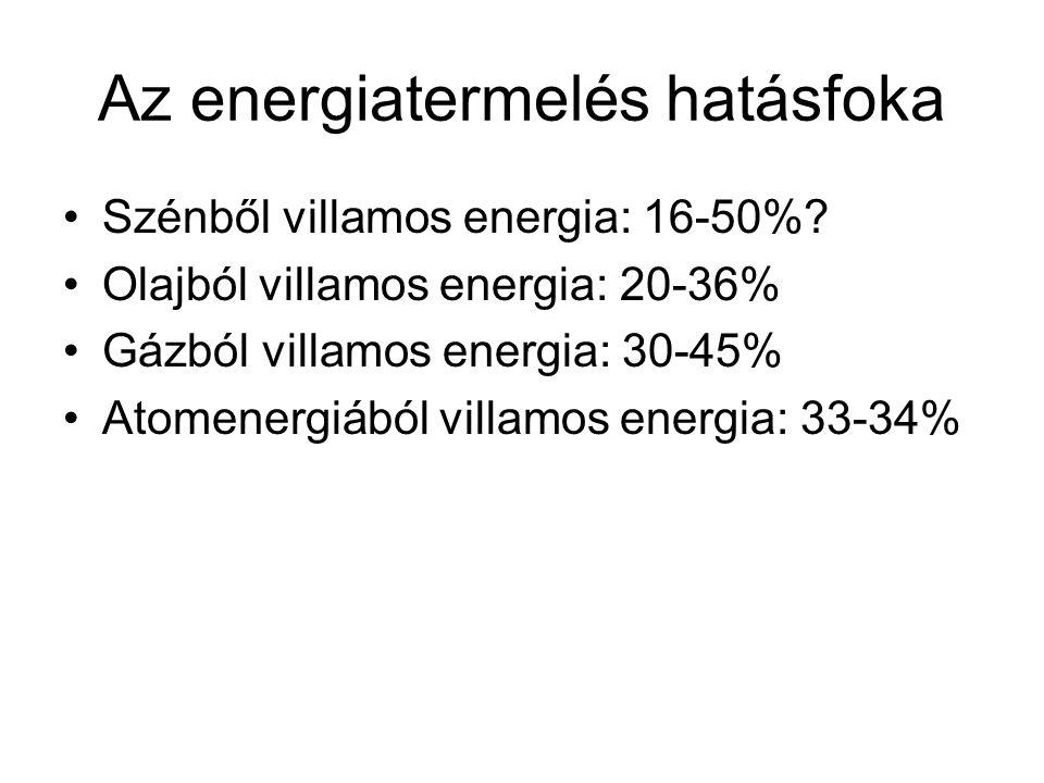 Az energiatermelés hatásfoka •Szénből villamos energia: 16-50%? •Olajból villamos energia: 20-36% •Gázból villamos energia: 30-45% •Atomenergiából vil