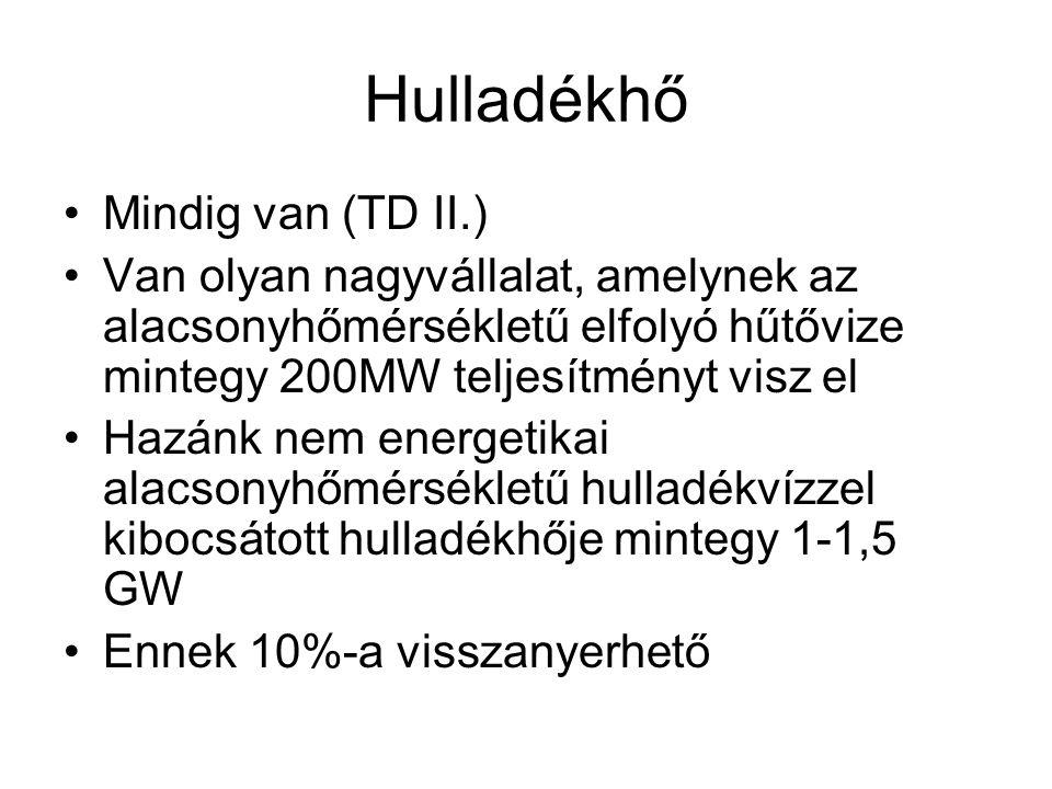 Hulladékhő •Mindig van (TD II.) •Van olyan nagyvállalat, amelynek az alacsonyhőmérsékletű elfolyó hűtővize mintegy 200MW teljesítményt visz el •Hazánk