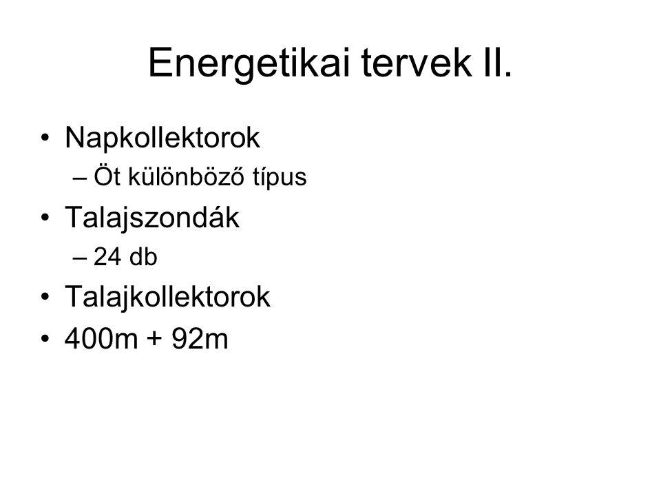Energetikai tervek II. •Napkollektorok –Öt különböző típus •Talajszondák –24 db •Talajkollektorok •400m + 92m